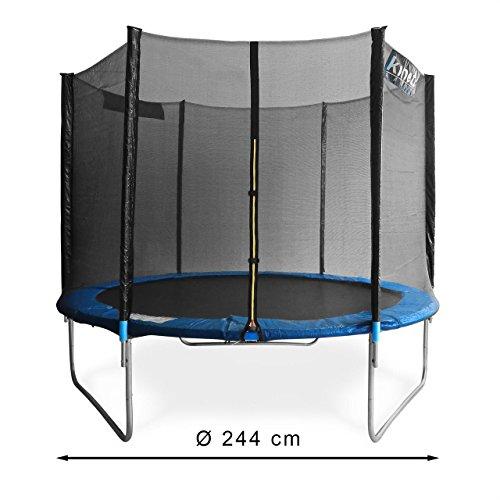 Kinetic Sports Outdoor Gartentrampolin Komplettset Ø 244 cm Sicherheitsnetz Randabdeckung Leiter Abdeckplane -