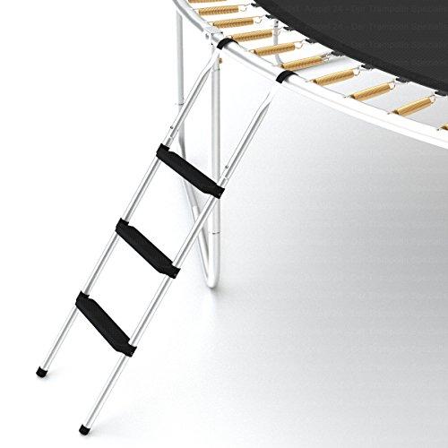 Trampolin Leiter für große Trampoline (3 Stufen, silber) -
