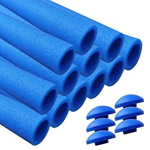 AWM Trampolin Schaumstoffpolster blau, Schaumstoff Schaumstoffrohre inkl. Kappen Stangenschutz- Set (12x 940mm)