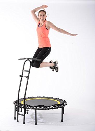 Fitnesstrampolin JOKA FIT trampolin jumping fitness mit großem Spassfaktor, Minitrampolin mit Gummiseilfederung Schwarz Blau -