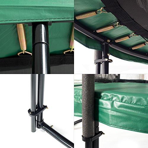 Ampel 24 Deluxe Outdoor Trampolin 430 cm mit innenliegendem Netz, Belastbarkeit 160 kg, Set mit Leiter, Windsicherung und 1 Paar Antirutsch-Socken extra - 7