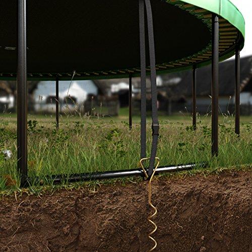 Ampel 24 Deluxe Outdoor Trampolin 430 cm mit innenliegendem Netz, Belastbarkeit 160 kg, Set mit Leiter, Windsicherung und 1 Paar Antirutsch-Socken extra - 8