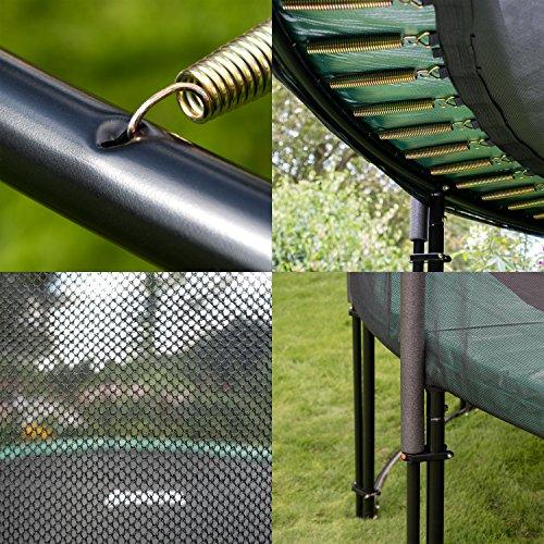 Ampel 24 Deluxe Outdoor Trampolin 430 cm komplett mit Außennetz, Belastbarkeit 160 kg, Sicherheitsnetz mit Stabilitätsring und 12 gepolsterten Stangen - 4