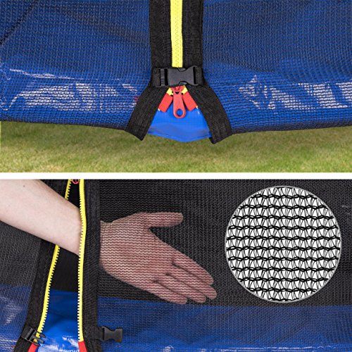 Kinetic Sports Outdoor Gartentrampolin Ø 310 cm, TPLH10, Komplettset inklusive Sprungtuch aus USA PP-Mesh +Sicherheitsnetz +Randabdeckung, bis 150kg, GS-geprüft, UV-beständig, BLAU - 4