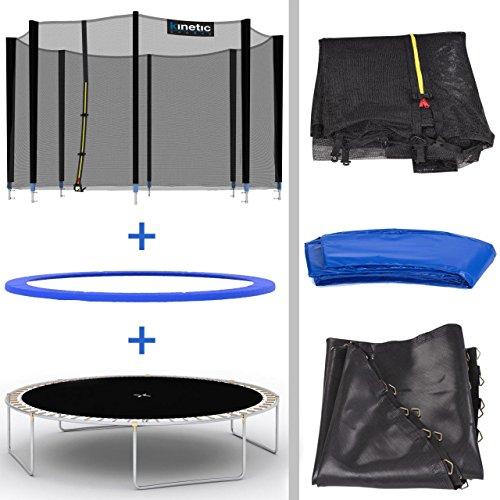 Kinetic Sports Outdoor Gartentrampolin Ø 310 cm, TPLH10, Komplettset inklusive Sprungtuch aus USA PP-Mesh +Sicherheitsnetz +Randabdeckung, bis 150kg, GS-geprüft, UV-beständig, BLAU - 5