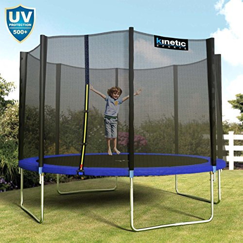Kinetic Sports Outdoor Gartentrampolin Ø 310 cm, TPLH10, Komplettset inklusive Sprungtuch aus USA PP-Mesh +Sicherheitsnetz +Randabdeckung, bis 150kg, GS-geprüft, UV-beständig, BLAU - 6