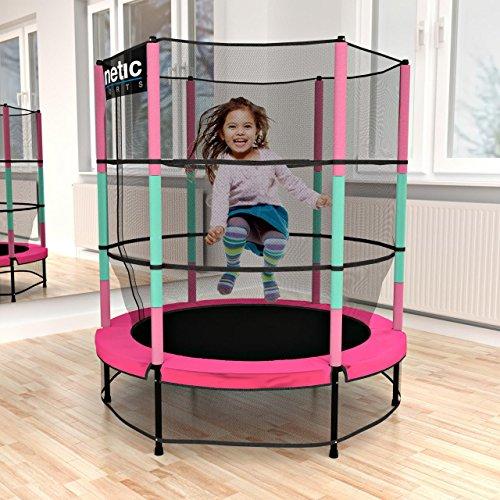 Kinetic Sports Trampolin Kinder Indoortrampolin Jumper 140 cm Randabdeckung Stangen gepolstert, Gummiseil-Federung Sicherheitsnetz Pink - 2