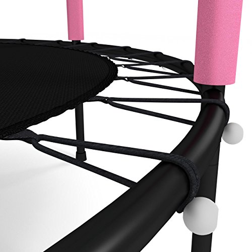 Kinetic Sports Trampolin Kinder Indoortrampolin Jumper 140 cm Randabdeckung Stangen gepolstert, Gummiseil-Federung Sicherheitsnetz Pink - 5