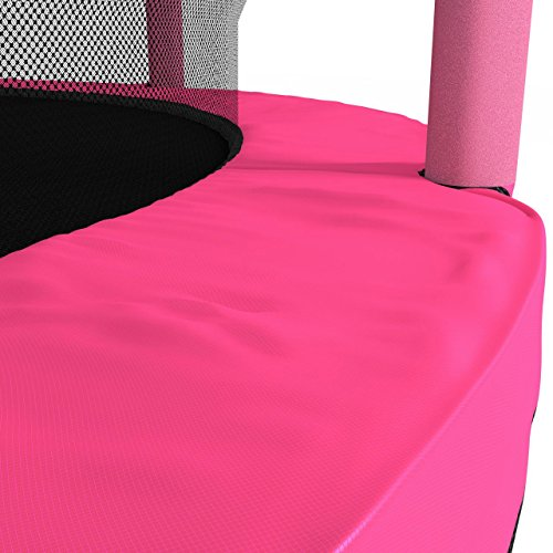 Kinetic Sports Trampolin Kinder Indoortrampolin Jumper 140 cm Randabdeckung Stangen gepolstert, Gummiseil-Federung Sicherheitsnetz Pink - 6