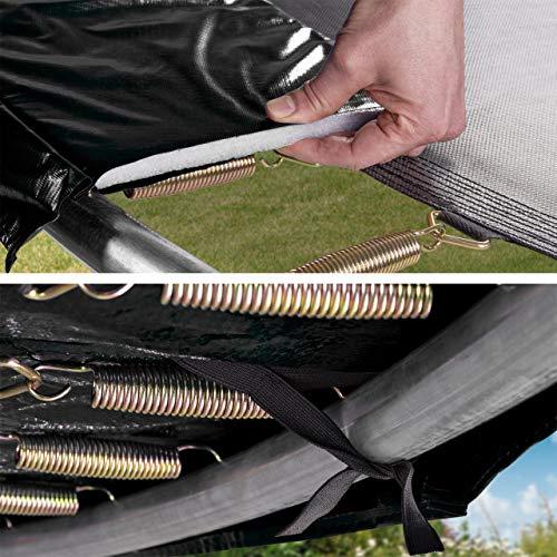Kinetic Sports Outdoor Gartentrampolin Ø 250 cm, TPLH08, Komplettset inklusive Sprungtuch aus USA PP-Mesh +Sicherheitsnetz +Randabdeckung, bis 120kg, GS-geprüft, UV-beständig, SCHWARZ - 3