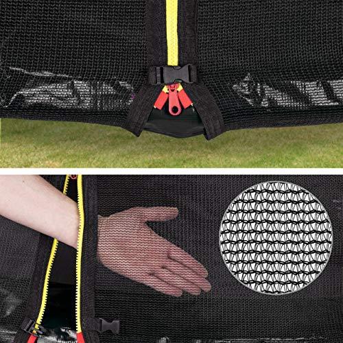 Kinetic Sports Outdoor Gartentrampolin Ø 250 cm, TPLH08, Komplettset inklusive Sprungtuch aus USA PP-Mesh +Sicherheitsnetz +Randabdeckung, bis 120kg, GS-geprüft, UV-beständig, SCHWARZ - 4