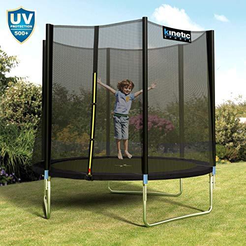 Kinetic Sports Outdoor Gartentrampolin Ø 250 cm, TPLH08, Komplettset inklusive Sprungtuch aus USA PP-Mesh +Sicherheitsnetz +Randabdeckung, bis 120kg, GS-geprüft, UV-beständig, SCHWARZ - 6