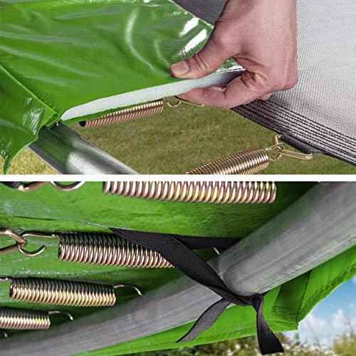 Kinetic Sports Outdoor Gartentrampolin Ø 250 cm, TPLH08, Komplettset inklusive Sprungtuch aus USA PP-Mesh +Sicherheitsnetz +Randabdeckung, bis 120kg, GS-geprüft, UV-beständig, GRÜN - 3