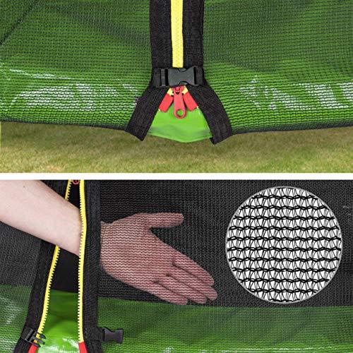 Kinetic Sports Outdoor Gartentrampolin Ø 250 cm, TPLH08, Komplettset inklusive Sprungtuch aus USA PP-Mesh +Sicherheitsnetz +Randabdeckung, bis 120kg, GS-geprüft, UV-beständig, GRÜN - 4