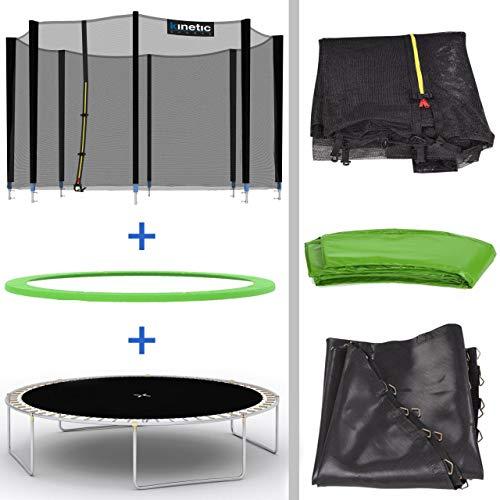 Kinetic Sports Outdoor Gartentrampolin Ø 250 cm, TPLH08, Komplettset inklusive Sprungtuch aus USA PP-Mesh +Sicherheitsnetz +Randabdeckung, bis 120kg, GS-geprüft, UV-beständig, GRÜN - 5