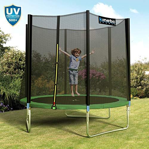Kinetic Sports Outdoor Gartentrampolin Ø 250 cm, TPLH08, Komplettset inklusive Sprungtuch aus USA PP-Mesh +Sicherheitsnetz +Randabdeckung, bis 120kg, GS-geprüft, UV-beständig, GRÜN - 6