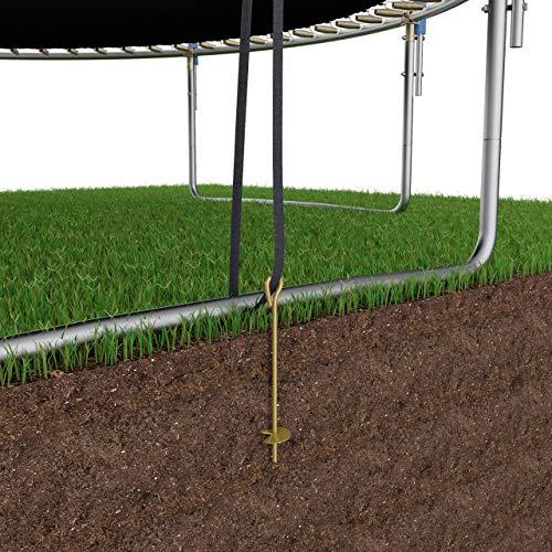 Bodenanker für Trampolin, 4 Stück, Sturm-Anker zum Eindrehen mit verstellbarem Gurt, Erdanker/Erdnagel verzinkt, für Schaukel, Gartenhaus etc, Kipp-Schutz für sichere Befestigung im Outdoor-Bereich - 2