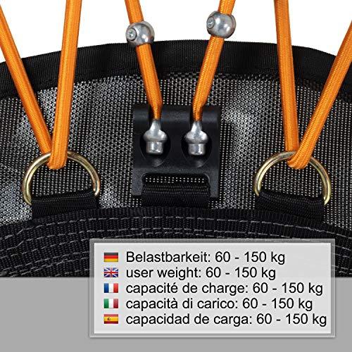 Ampel 24 Minitrampolin Ø 110 cm, Indoor Fitness Trampolin mit Bungee-Seil-System, 6 verstellbare Elastobänder für den Härtegrad, belastbar bis 150 kg - 4