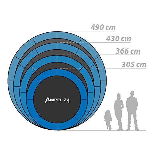 Ampel 24 Trampolin Ersatz Sprungmatte Ø 434 cm mit 120 Befestigungsösen 10-Fach vernäht, Sprungtuch für Gartentrampolin Ø 490 cm - 8