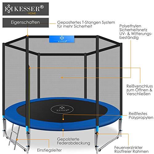 Kesser® - Trampolin Ø 305 cm | TÜV SÜD GS Zertifiziert | Komplettset mit Sicherheitsnetz, Leiter, Randabdeckung & Zubehör | Kindertrampolin Gartentrampolin Belastbarkeit 150 kg - 4
