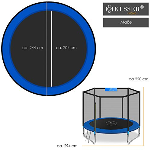 Kesser® - Trampolin Ø 305 cm | TÜV SÜD GS Zertifiziert | Komplettset mit Sicherheitsnetz, Leiter, Randabdeckung & Zubehör | Kindertrampolin Gartentrampolin Belastbarkeit 150 kg - 6