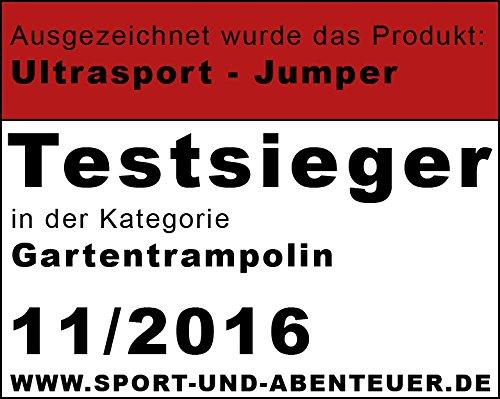 Ultrasport Outdoor Gartentrampolin Jumper, Trampolin Komplettset inklusive Sprungmatte, Sicherheitsnetz, gepolsterten Netzpfosten und Randabdeckung, bis zu 150 kg, grün, Ø 366 cm - 7