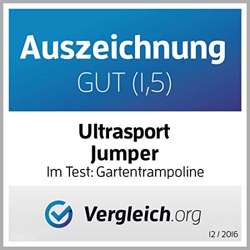 Ultrasport Outdoor Gartentrampolin Jumper, Trampolin Komplettset inklusive Sprungmatte, Sicherheitsnetz, gepolsterten Netzpfosten und Randabdeckung, bis zu 150 kg, grün, Ø 366 cm - 10