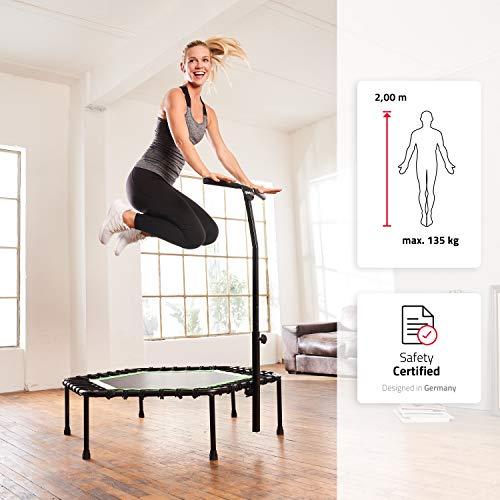 SportPlus Fitness-Trampolin, TÜV-Geprüft, Ø 126cm, leise Gummiseilfederung, 5-fach höhenverstellbarer Haltegriff, inkl. Randabdeckung, Nutzergewicht bis 130kg, Trampolin für Jumping Fitness - 3