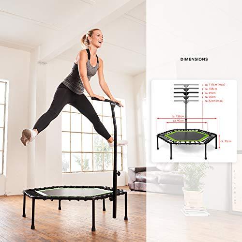 SportPlus Fitness-Trampolin, TÜV-Geprüft, Ø 126cm, leise Gummiseilfederung, 5-fach höhenverstellbarer Haltegriff, inkl. Randabdeckung, Nutzergewicht bis 130kg, Trampolin für Jumping Fitness - 5