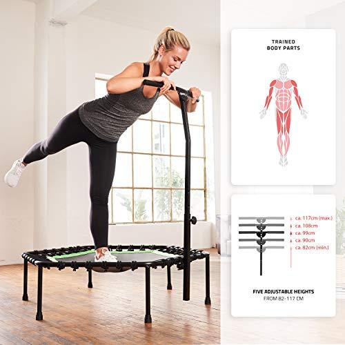 SportPlus Fitness-Trampolin, TÜV-Geprüft, Ø 126cm, leise Gummiseilfederung, 5-fach höhenverstellbarer Haltegriff, inkl. Randabdeckung, Nutzergewicht bis 130kg, Trampolin für Jumping Fitness - 6