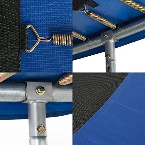 Ampel 24 Outdoor Trampolin 305 cm blau komplett mit außenliegendem Netz, Stabilitätsring, 8 gepolsterten Stangen, Belastbarkeit 150 kg - 5