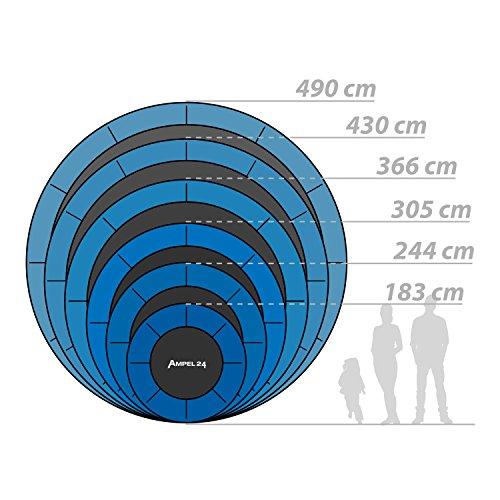 Ampel 24 Outdoor Trampolin 430 cm blau komplett mit außenliegendem Netz, Stabilitätsring, 10 gepolsterten Stangen, Belastbarkeit 160 kg - 6