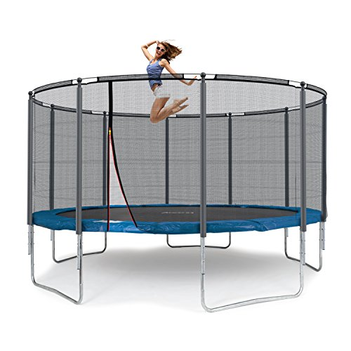 Ampel 24 Outdoor Trampolin 430 cm blau komplett mit außenliegendem Netz, Stabilitätsring, 10 gepolsterten Stangen, Belastbarkeit 160 kg - 8