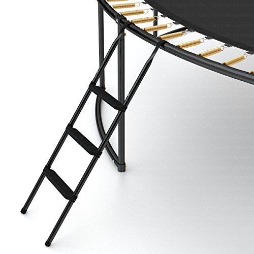 Ampel 24 Trampolin Leiter 110 cm lang, Treppe mit 3 Breiten Stufen, praktischer Einstieg für große Gartentrampoline, schwarz - 6