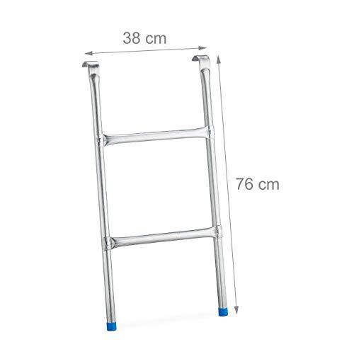 Relaxdays Leiter Trampolin, zum Einhängen, 2 Sprossen, Einstiegsleiter für Gartentrampolin, H x B: 76 x 38 cm, silber - 4