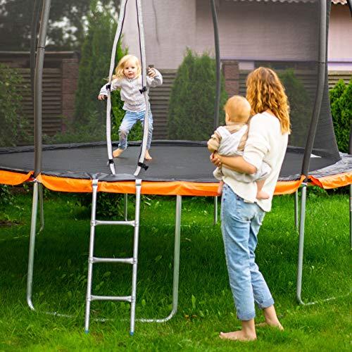 Relaxdays Leiter Trampolin, zum Einhängen, 2 Sprossen, Einstiegsleiter für Gartentrampolin, H x B: 76 x 38 cm, silber - 6
