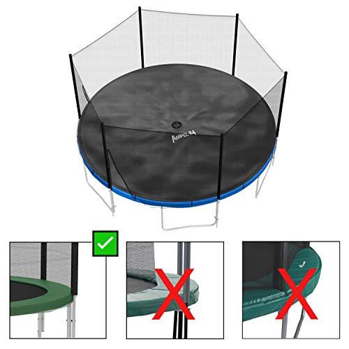 Ampel 24 Outdoor Trampolin Abdeckung 366 cm, Wetterschutzplane für Gartentrampolin mit Regenablauf, Abdeckplane schwarz, UV-beständig - 8