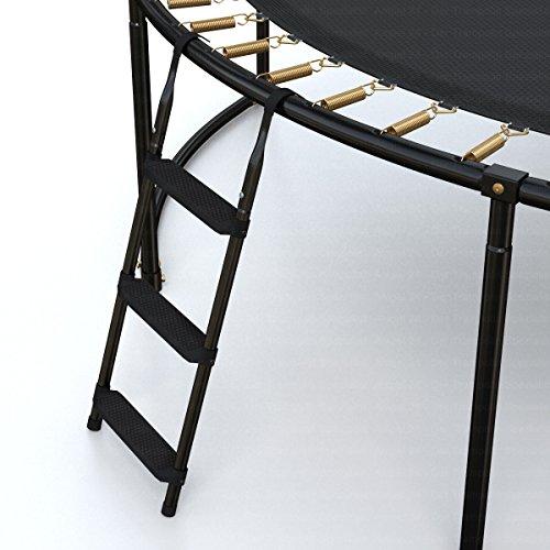 Ampel 24 Trampolin Leiter 86 cm lang, Einstiegsleiter mit 3 Breiten Stufen, praktischer Einstieg für Gartentrampoline, schwarz - 7
