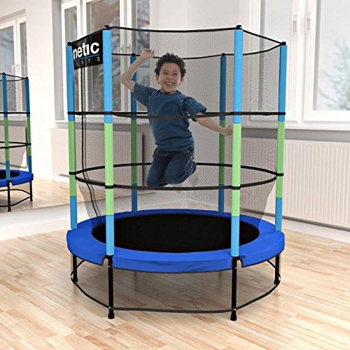 Kinetic Sports Trampolin Kinder Indoortrampolin Jumper 140 cm Randabdeckung Stangen gepolstert, Gummiseil-Federung Sicherheitsnetz Blau - 2