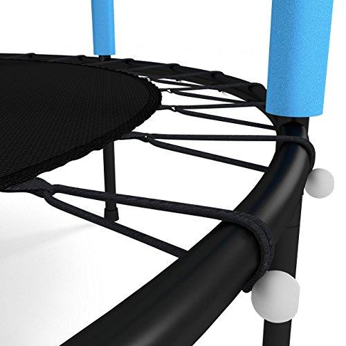 Kinetic Sports Trampolin Kinder Indoortrampolin Jumper 140 cm Randabdeckung Stangen gepolstert, Gummiseil-Federung Sicherheitsnetz Blau - 5