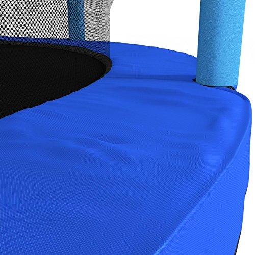 Kinetic Sports Trampolin Kinder Indoortrampolin Jumper 140 cm Randabdeckung Stangen gepolstert, Gummiseil-Federung Sicherheitsnetz Blau - 6
