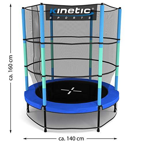 Kinetic Sports Trampolin Kinder Indoortrampolin Jumper 140 cm Randabdeckung Stangen gepolstert, Gummiseil-Federung Sicherheitsnetz Blau - 7