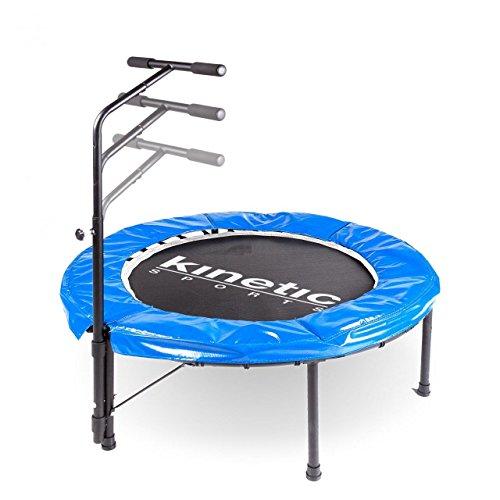 Kinetic Sports Indoor Fitness Trampolin Home Trampolin, Durchmesser 100 cm, Haltegriff Höhenverstellbar 83-123 cm -